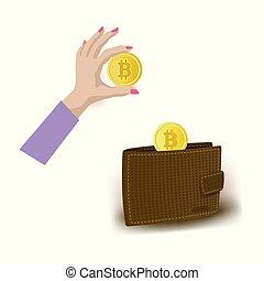 Vector flat bitcoin mining symbols set