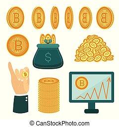 Vector flat bitcoin symbols, golden coins set.