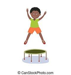 vector flat black boy kid jumping on trampoline