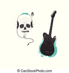 Vector flat black electric guitar skull headphones