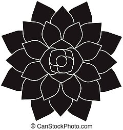 Vector flat black icon of succulent plant on white