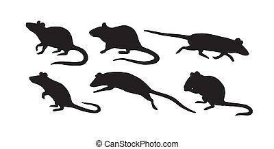 Vector flat black set of rat mouse silhouette