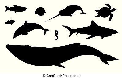 Vector flat black set of sea animals silhouette