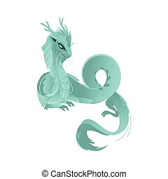 vector flat blue colored dragon with wings, horns