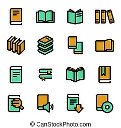 Vector flat book icons set
