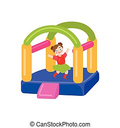 vector flat bouncy inflatable castle and girl - vector flat...