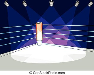 vector flat boxing club ring with spotlight light