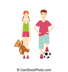 vector flat boy and girl character set isolated