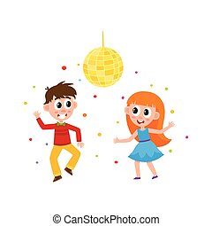 vector flat boy and girl dancing at party