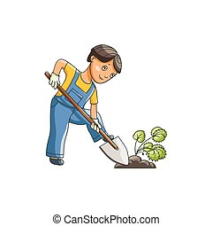 vector flat boy digging hole for a plant