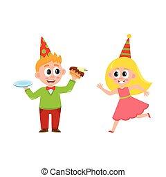 vector flat boy eats cake, girl running