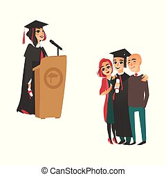 vector flat boy, girl graduates set