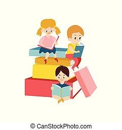 Vector flat boy girl reading sitting at big book