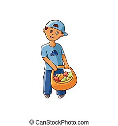 vector flat boy holding basket with fruit