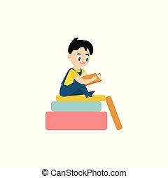 Vector flat boy reading sitting at big book