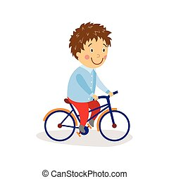 vector flat boy riding bicycle isolated