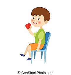 vector flat boy sitting at chair eating apple