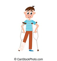 vector flat boy with broken leg on crutches