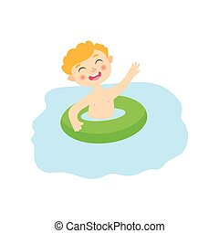 vector flat boyin inflatable ring in pool