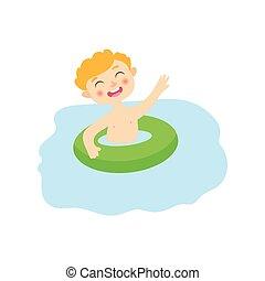 vector flat boyin inflatable ring in pool