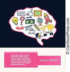 Vector flat brain illustration