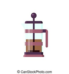 Vector flat brewer icon logo isolated on white background. Tea symbol, design element for restaurant menu, recipe, kitchen - stock illustration