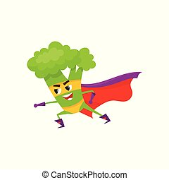 vector flat broccoli character in cape, mask - vector flat...