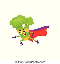 vector flat broccoli character in cape, mask - vector flat...
