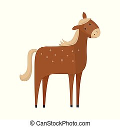 Vector flat brown horse icon