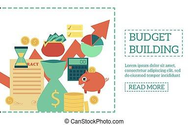 Vector flat budget building poster - Flat budget building...