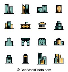 Vector flat buildings icons set