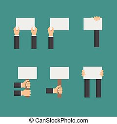 Vector flat business concept with hands holding empty signs or blank paper
