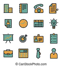 Vector flat business icons set