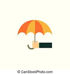 Vector flat businessman hand holding umbrella