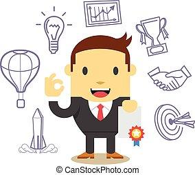 Vector flat businessman. Icon set