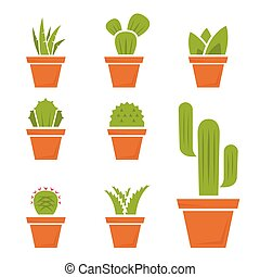 Vector flat cactus icons set on White Background