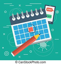 Vector flat calendar icon and pencil