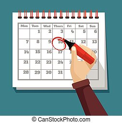 Vector flat calendar illustration