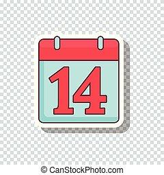 Vector flat calendar sticker for Valentine's Day - Inspiring...