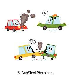 vector flat car character accident set