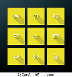 Vector flat car dashboard icon set