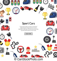 Vector flat car racing icons background with place for text illustration