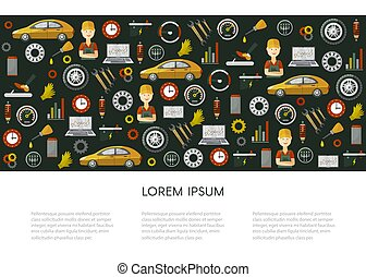 vector flat car service icons pattern poster