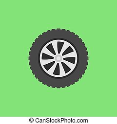 Vector flat car wheel icon on green background