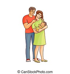 vector flat cartoon adult couple and infant