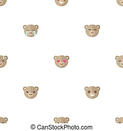 Vector flat cartoon bear heads with different emotions seamless pattern. Animal emoticons background.