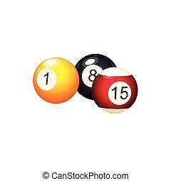 vector flat cartoon billiard balls with numbers