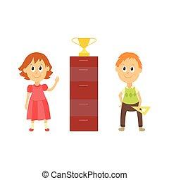 vector flat cartoon boy, girl pupil near gold cup