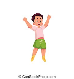 vector flat cartoon boy jumping smiling