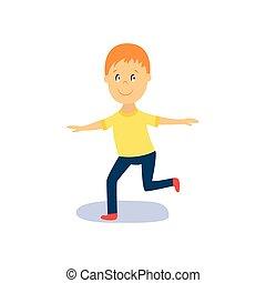 vector flat cartoon boy kid dancing isolated